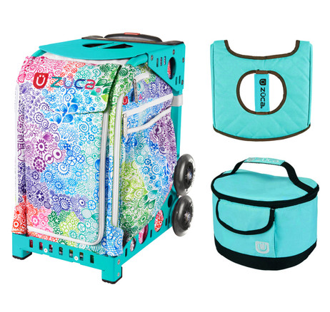 Zuca Explosion Bag with Free Lunchbox and Seat Cover (Turquoise Frame)