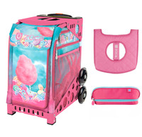 Zuca Cotton Candy bag with Pink Frame with Seat Cover and Zuca Pencil case