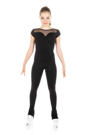 Elite Xpression - One Piece in Supplex with Sweetheart Neckline and Short Sleeves - Black