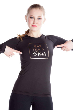 Elite Xpression - Black Shirt EAT TRAIN SKATE - Rose Gold
