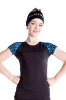 Elite Xpression - Black T-shirt with Sublimated Sleeves - Blue Sparkle