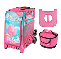 Zuca Cotton Candy Bag with Pink Frame with Pink Lunchbox and Pink Seat Cover