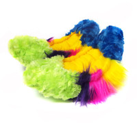 Crazy Fur Soakers -  Blue, Yellow, Pink and Lime Rainbow
