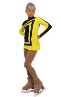 IceDress Figure Skating Dress-Thermal -  Avangard (Black with Yellow) 2nd view