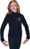 ChloeNoel J11 Solid Polar Fleece Fitted Figure Skating Jacket w/ Mini Blue Ribbon Crystals