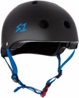 S1 Mini Lifer Helmet - Black Matte w/ Cyan Straps