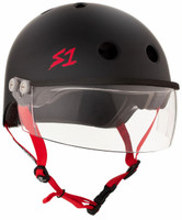 S1 Lifer Visor Helmet - Black Matte w/ Red Straps and Clear Visor