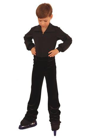 IceDress - Figure Skating Shirt Bodysuit for Performances for Boys (Black)