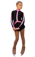 IceDress Figure Skating Outfit - Thermal - Arabesque 2 (Black with Pink lycra)