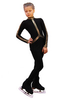 IceDress Figure Skating Outfit - Thermal - Arabesque 2 (Black with Gold Line)