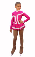 IceDress Figure Skating Outfit - Thermal -Choctaw ( Fuchsia with White Line)