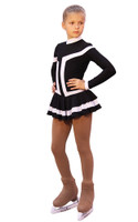 IceDress Figure Skating Outfit - Thermal -Choctaw (Black with White Line)