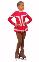 IceDress Figure Skating Outfit - Thermal -Choctaw (Raspberry with White Line)