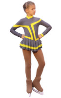 IceDress Figure Skating Outfit - Thermal -Choctaw (Gray with Yellow Line)