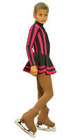 IceDress Figure Skating Outfit - Thermal - Star (Dark Grey and Fuchsia)
