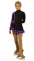 IceDress Figure Skating Outfit - Thermal - Star (Black and Purple)