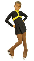 IceDress Figure Skating Outfit - Thermal - Arabesque (Dark Grey and Yellow)