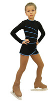 IceDress Figure Skating Dress-Thermal -  Grace (Black with Blue Line)