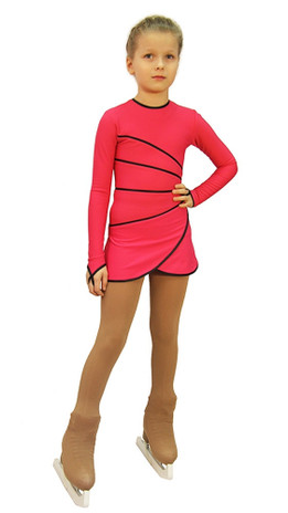 IceDress Figure Skating Dress-Thermal -  Grace (Raspberry with Black Line)