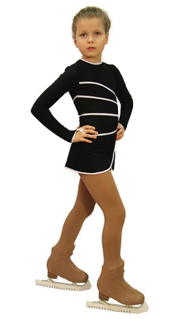 IceDress Figure Skating Dress-Thermal -  Grace (Black with White  Line)