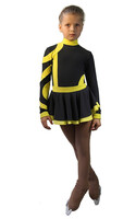 IceDress Figure Skating Dress-Thermal - Cross-Roll (Gray and Yellow)