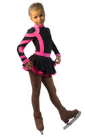 IceDress Figure Skating Dress-Thermal - Cross-Roll (Gray and Pink)