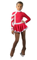 IceDress Figure Skating Dress-Thermal - Cross-Roll (Raspberry and White)