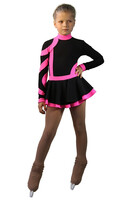 IceDress Figure Skating Dress-Thermal - Cross-Roll (Black and Pink)