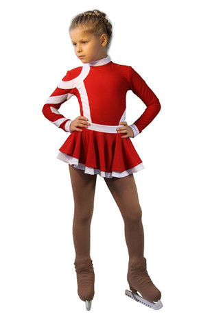 IceDress Figure Skating Dress-Thermal - Cross-Roll (Red and White)