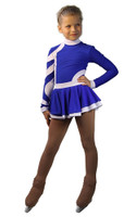 IceDress Figure Skating Dress-Thermal - Cross-Roll (Cornflower blue and White)