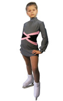 IceDress Figure Skating Dress-Thermal -  Jackson (Light Grey with Pink belt)