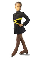 IceDress Figure Skating Dress-Thermal -  Jackson (Dark Grey with Yellow belt)