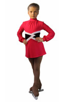 IceDress Figure Skating Dress-Thermal -  Jackson (Raspberry with White belt)