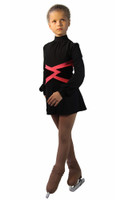IceDress Figure Skating Dress-Thermal -  Jackson (Black with Raspberry belt)
