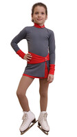 IceDress Figure Skating Dress-Thermal -  Oriental (Gray and Red)