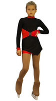IceDress Figure Skating Dress-Thermal -  Oriental (Black and Red)