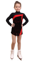 IceDress Figure Skating Dress-Thermal -  Charlotte (Black and Red)