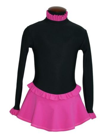 IceDress Figure Skating Dress-Thermal -  Flounce (Black and Pink)