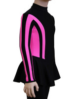 IceDress Figure Skating Dress-Thermal -  Stripe (Black with Pink Stripes)