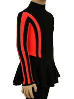 IceDress Figure Skating Dress-Thermal -  Stripe (Black with Orange Stripes)