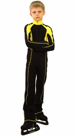IceDress - Figure Skating Training Overalls -  Axel (Black and Yellow)