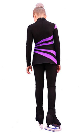 IceDress Figure Skating Dress-Thermal -  Oriental 3 (Black and Purple)