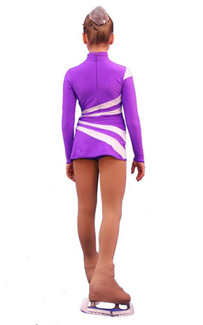 IceDress Figure Skating Dress-Thermal -  Oriental 3  (Purple and White)