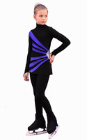 IceDress Figure Skating Dress-Thermal -  Oriental 3 (Black and Cornflower)