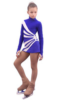 IceDress Figure Skating Dress-Thermal -  Oriental 3 (Cornflower and White)