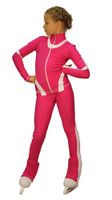 IceDress Figure Skating Outfit - Thermal -Flip  (Fuchsia with White Line)