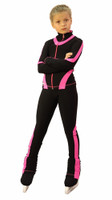 IceDress Figure Skating Outfit - Thermal -Flip  (Black with Pink Line)