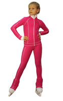 IceDress Figure Skating Outfit - Thermal -Todes(Fuchsia with White Line)
