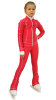 IceDress Figure Skating Outfit - Thermal -Todes(Raspberry with White Line)
