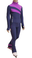 IceDress Figure Skating Outfit - Thermal - Rays (Gray and Purplet)